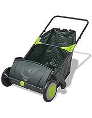 Tidyard Barredora de Jardín para Hierba Hojas y Ramas Pequeñas Ajustar Manualmente Nivel 112x66x78cm Negro y Verde 103L
