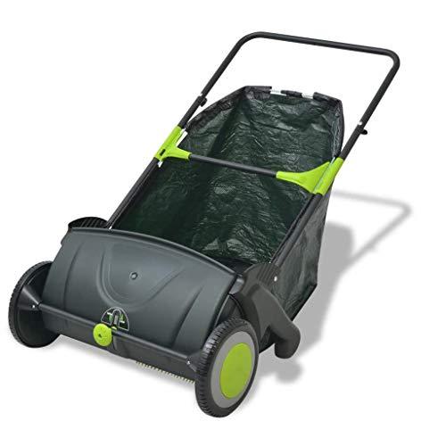 yorten Rasenkehrmaschine Kehrmaschine 103 L Reinigungsbreite 55 cm Schwarz und Grün