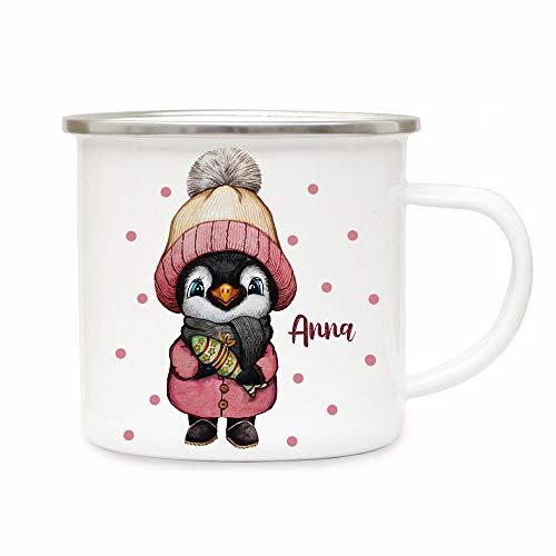 ilka parey wandtattoo-welt Emaillebecher Becher Tasse Camping Pinguin Mädchen Winter...