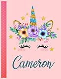 Cameron: Personalized Unicorn Handwriting Notebook Large Size 8.5'' x 11'' x 110 Pages For Girls and Blue Name Good Quality White Paper Makes A Wonderful Gift For Family and Friends