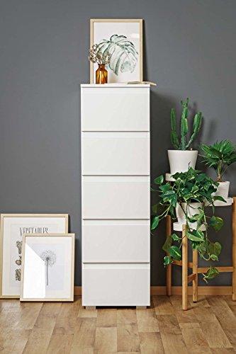 lifestyle4living Hochkommode weiß, schmal, 131 cm hoch, 5 Schubladen | Wohnzimmerkommode | Schubladenkommode | Flurkommode