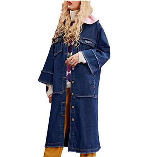 De Las Mujeres Chicas Nuevo Gabardina De Mezclilla_Sobretodo Suelto Impreso Chaqueta De Jeans Cazadora Larga