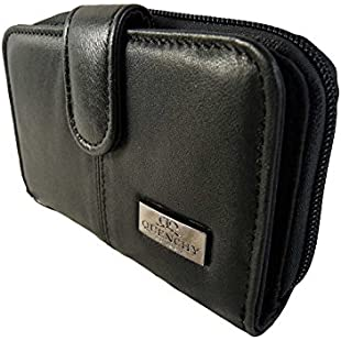 Black Medium Leather Purses - 2 Zipped Coin Section With 5 Trays - 6 Credit Cards Purse - 1 Bank Note Slip - Photo ID Window - Real Cow Hide Leather - L14cm 5.5 inch X H 10cm X 3cm - QL225 (Black)