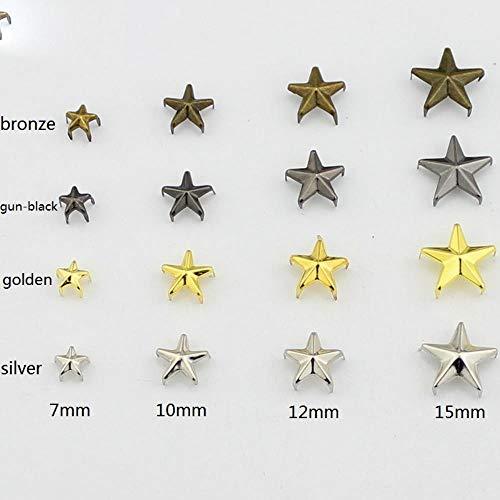 Hot Koop 5 Maten Verzameld Metalen Ster Goud Studs voor Kleding Klauw klinknagels voor s Schoenen Tassen Riemen DIY Punk Accessoire, 20mm Gouden (50st)