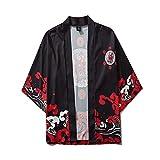 Mens Womens Open Front Cardigan Fashion 3/4 Sleeve Printed Kimono Jacket Casual Shirts Top Blouse Lightweight Poncho Cloak Cape (XXL, Black (F))