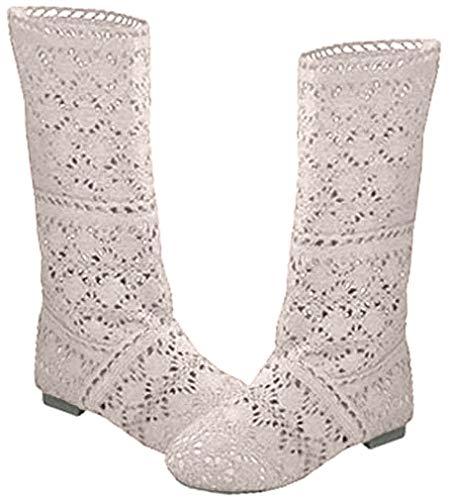 Botas de niña de Las Mujeres Botas de Verano Hueco de Encaje de Encaje Crochet Hollow out Botas Planas de tacón Grueso Blanco Negro