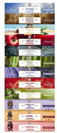 Aromatherapy Hosley's 480 Pack INCENSE LAVENDER, EUCALYPTUS MINT, SANDALWOOD, SWEET PEA JASMINE, TROPICAL MIST, APPLE CINNAMON, FRESH BAMBOO, DRAGON'S BLOOD, MYRRH, LAVENDER, LILAC, FRANK-INCENSE O3