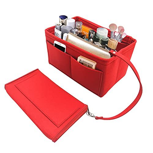 Organisateur de Sac à Main en Feutre, Sac de Rangement Intérieur Bag in Bag pour Femmes avec Sac à Fermeture éclaire (rouge)
