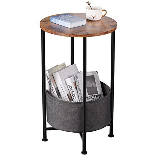 YEAKOO Kleiner runder Beistelltisch mit abnehmbarem Aufbewahrungskorb aus Stoff, industrieller runder Nachttisch/Couchtisch/Schlafzimmer-Nachttisch, 66 cm Höhe