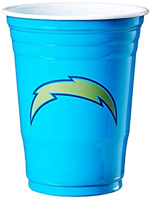 NFL Siskiyou Sports San Diego Chargers Plastic Game Day Cups, 18 Count, (18 oz) Team Color