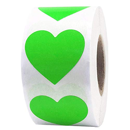 """Remarkable Heart Shape Stickers -Color Coding Labels- Natural Adhesive Shooting Target or Envelop Seals Fluorescent Stickers,2"""" 250 Labels Per Roll (Green)"""