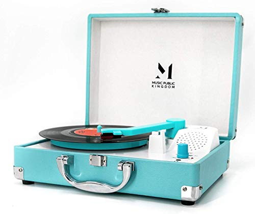 Record Player, Portable Mini Suitcase Turntable for 7 Inch Vinyl Record, Belt-Drive 2-Speed Turntable with Built in Stereo Speaker (Blue)