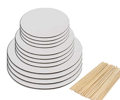 Sturdy Cake Boards and Wooden Dowels,Set of 12 White Round Cake Circle Base Perfect for Cake Decorating & 3 Tier Stacked Cakes - 6, 8 and 10 inch, 4 of each Size Set With 32 Dowels