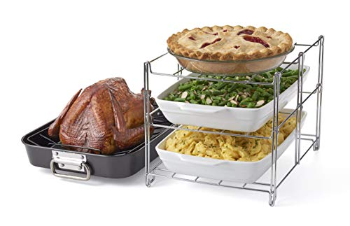 Betty Crocker Oven Insert with Large Non-Stick. 3-Tier Baking Rack and Roasting Pan, Included, Charcoal and Chrome