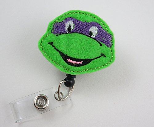Ninja Turtle Face Purple - Nurse Badge Reel - Retractable ID Badge Holder - Nurse Badge - Badge Clip - Badge Reels - Pediatric - RN - Name Badge Holder
