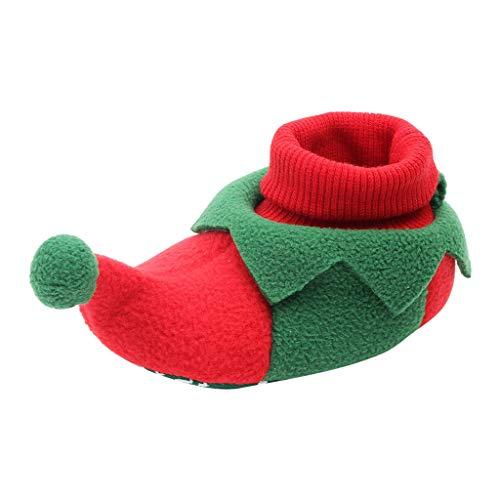 Baby Christmas Boots Slipper Shoes Infant Newborn Santa Booties Toddler Winter Warm Prewalker for Boys Girls (0~6 M, Green)
