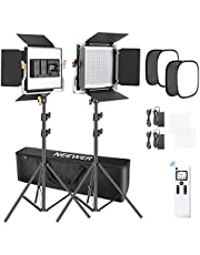Neewer 2 Packs Advanced 2.4G 480 LED Video Light, Photography Lighting Kit with Bag, Dimmable Bi-Color LED Panel with 2.4G Wireless Remote, Softbox and Light Stand for Portrait Product Photography
