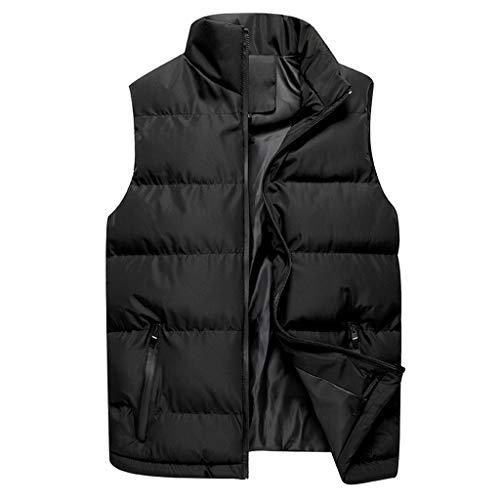 Binggong Herrväst lätt quiltad väst utomhusväst fritid sport funktionell väst varm ärmlös dunväst jacka solid vinter ytterkläder med ståkrage, svart, M