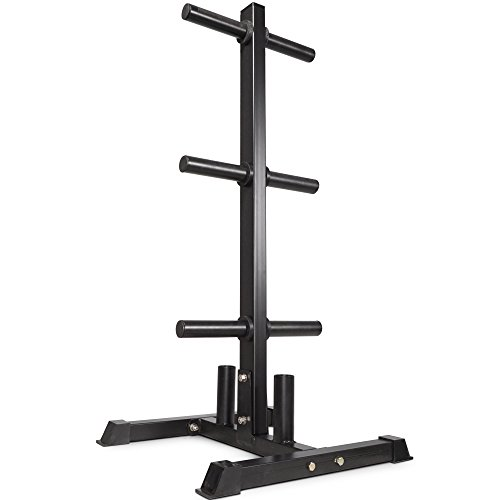 Titan Fitness Olympic 2' Weight Plate Rack Tree & Barbell Holder Organizer Stand