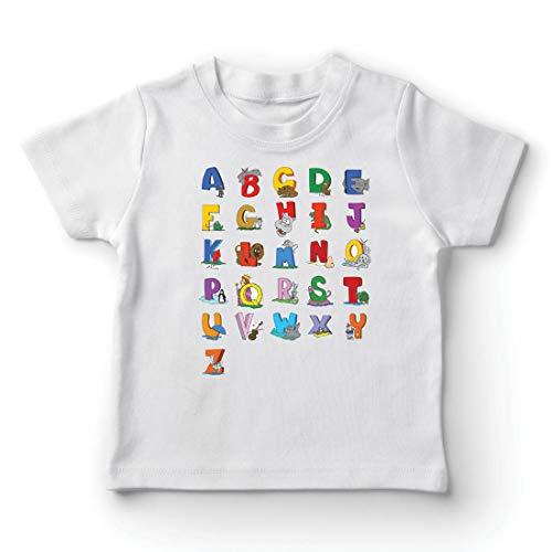 lepni.me Camiseta para Niño/Niña Alfabeto Inglés, Diseño de Canciones ABC, Aprendizaje de Letras, Regreso a la Escuela o Regalos de Graduación (1-2 Years Blanco Multicolor)