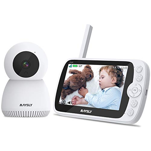 Vigilabebés Maysly 1080P Vigilabebés con cámara y audio, pantalla TFT de 5,0 pulgadas, batería recargable de 3600 mAh, audio bidireccional, visión nocturna y monitor de temperatura