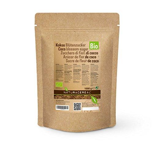 NATURACEREAL ® Bio Kokosblütenzucker 1000g ⭐ Kräftiger Karamell Geschmack ⭐ aus fairem Handel