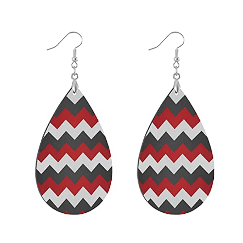 Pendientes de madera de moda gota colgantes ligeros lágrima pendientes forma gota pendiente para las mujeres joyería rojo oscuro gris y blanco Chevron