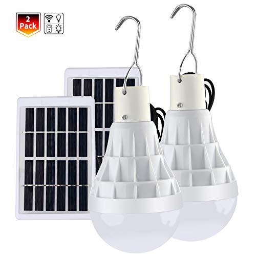 Solar Glühbirne, TechKen Solarlampe LED Licht mit Fernbedienung, tragbare Solar Panel Beleuchtung für Camping Outdoor Außen Gartenhaus (Solar Glühbirne 2 Pack)
