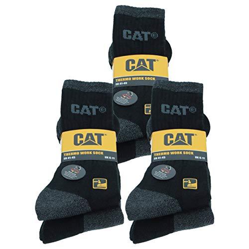 Caterpillar 6 Paar CAT Thermosocken für Herren aus weicher Baumwolle & hochwertigem Acryl, Zehen- & Fersenverstärkung (Schwarz/Grau, 4650)