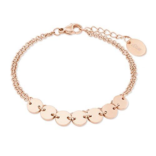 s.Oliver Armband für Damen aus Edelstahl mit IP Rose Beschichtung