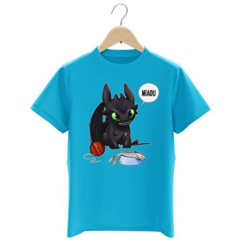 Okiwoki - Maglietta da bambino con scritta 'Parodie Dragon', motivo 'Krokmou', con scritta in francese 'Un Vrai Dragon Domestique' blu turchese 5-6 Anni