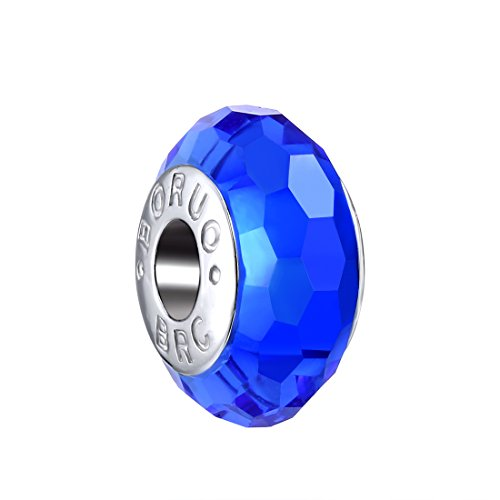 Boruo 925 Sterling Silver Czech Crystal Fascinating Facet Sapphire Glass Charms Beads Spacers September Birthstone Solid Core Charm Fit Pandora Bracelets.