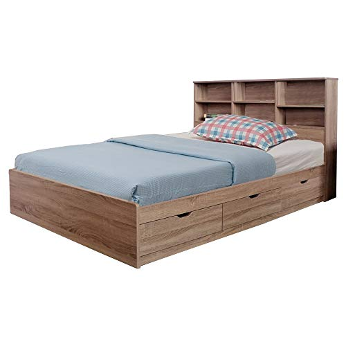 Benjara Wooden Full Size Bed Frame with 3 Drawers and Grain Details, Taupe Brown