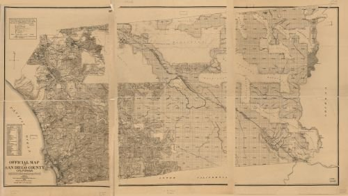 INFINITE PHOTOGRAPHS 1889 to 1890 Map Official map of San Diego County, California : compiled from Latest Official maps o