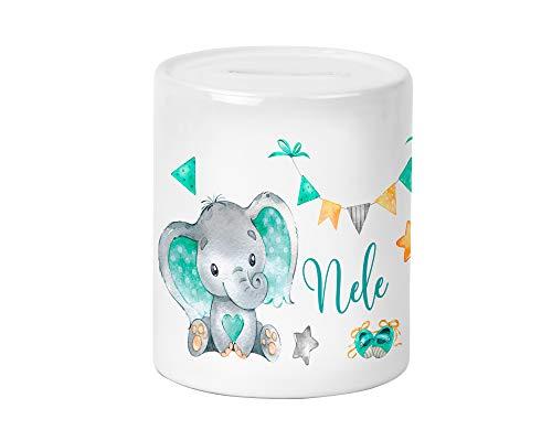 Yuweli Baby Elefant in Mint Spardose für Kinder Jungen und Mädchen mit Namen personalisiert zur Einschulung Taufe Geburtstag Geburt Sparschwein Geldgeschenk Kinderspardose