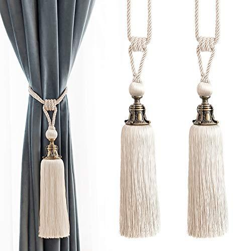 Melodieux Decorative Curtain Tiebacks Antique Tassels Holdbacks, Home Office Windows Drapery Fasteners Fringe Ropes, Set of 2 (White)