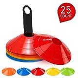 Lixada Lot de 15/25 cônes de Disque agilité Multi-Sports avec Support en Plastique pour Ballon de...