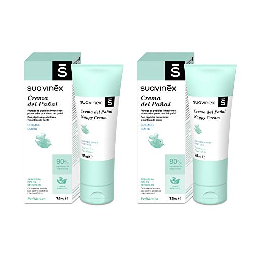 Suavinex 307535 Pack 2X Crema Pañal para Bebés, Protege de Irritaciones Y Rojeces, Apta para Pieles Sensibles, 90% Ingredientes de Origen Natural, Verde 2 x 75Mililitros