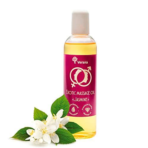 Huile de massage Verana, Jasmin, Huile cosmétique naturelle pour le corps, Pour tous types de peau, pour un massage érotique, sexuel et sensuel 250 ml