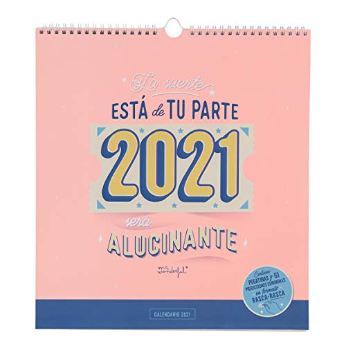 Calendario de pared rasca-rasca 2021 - La suerte está de tu parte: ¡2021 será alucinante!