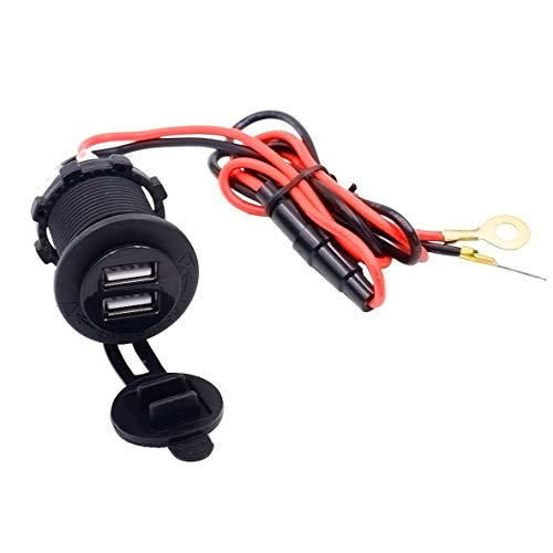 ACEHE Adaptador de Cargador de Motocicleta a Prueba de Agua con Puerto USB Dual 12V Toma de Fuente de alimentación para teléfono GPS Mp4