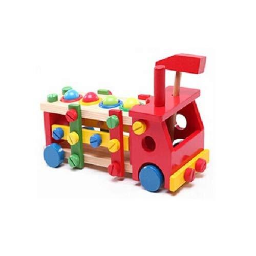 Lihgfw Pädagogisches Spielzeug, Kinderauto, Bausteine, Einsetzen von Holz, Demontage und Montage, Klopfen des Kugel-Werkzeugwagens, Klopfen der Automutter, Holzspielzeug für Kinder über 2 Jahre