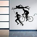 YuanMinglu Decoración del hogar calcomanías de Pared de triatlón Deportivo calcomanías de Pared de Vinilo competición competitiva multifase natación Bicicleta Corriendo Mural Negro 59x57cm