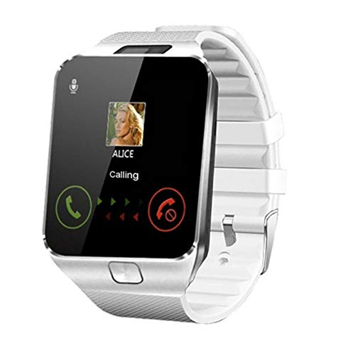 LXF JIAJU Smart Watch DZ09 Smart Clock Soporte TF SIM Cámara Hombres Mujeres Deporte Bluetooth Wristwatch para Samsung Huawei Xiaomi Android Teléfono (Color : White)