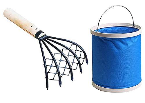 YOSOGO 5-Tine Ninja Steel Claws Hand Rake with Mesh Net, Clam Fork, Short Wooden Handle, Ergonomic, Non-Slip, Lightweight, Sturdy, Compact - Comes with Portable Folding Bucket (Blue)