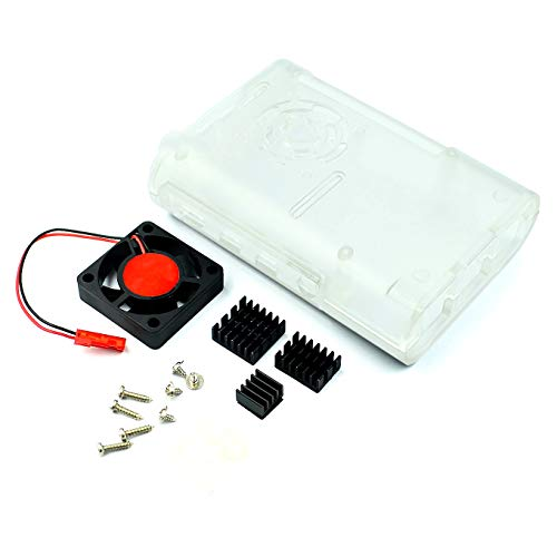 AptoFun Carcasa transparente para Raspberry Pi 4B + ventilador + 3 disipadores de calor