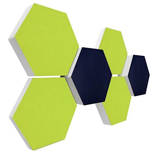 Basotect G+ Schallabsorber 3D-Set < 6 Elemente Ø30cm > Diverse Farben (Nachtblau + Hellgrün)