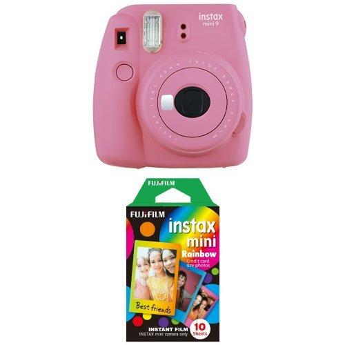 Fujifilm - Instax Mini 9 - rose - appareil seul + Rainbow Film 10 poses