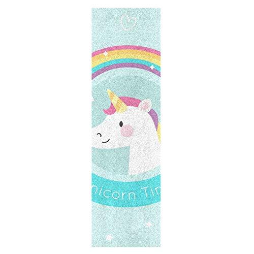 Lindo Bebé Unicornio Arcoiris Monopatín Papel de Lija Antideslizante Hoja Cinta de Agarre Lijas para Patineta Scooter Etiquetas engomadas (84 x 23 cm)