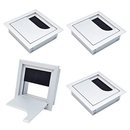 HO2NLE 4 Stück Kabeldurchführung Schreibtisch 80 x 80mm Quadratisch Kabeldurchlass Aluminiumlegierung Kabelabdeckung Tischdurchführung Kabeldose für Tisch Office Büro Arbeitsplatten